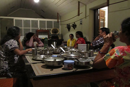 Image of dining table talk with our guest family