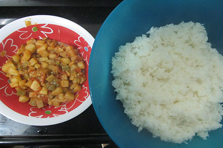Image of Potato based Vegetable dish with Rice
